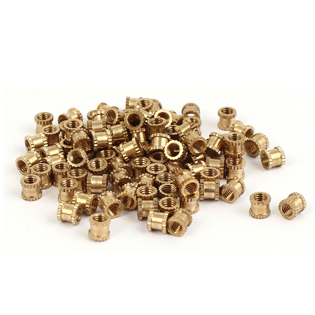 M3 x 4mm x 4.3mm Brass Knurled Threaded Round Insert Embedded Nuts 100PCS