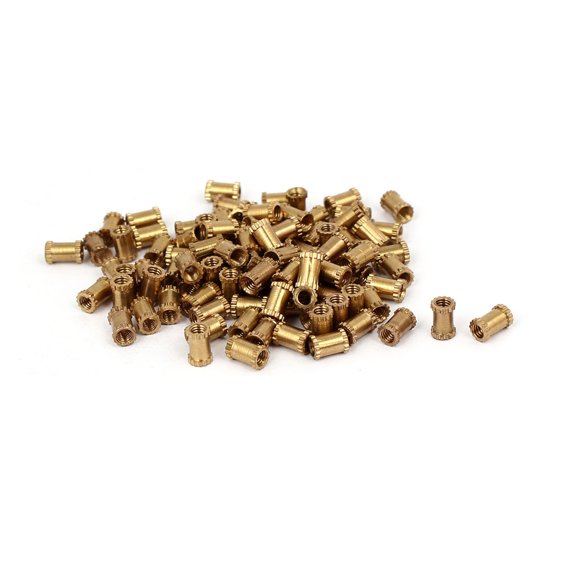 M2.5 x 6mm 3.5mm OD Brass Injection Molding Embedded Knurled Thumb Nut 100PCS