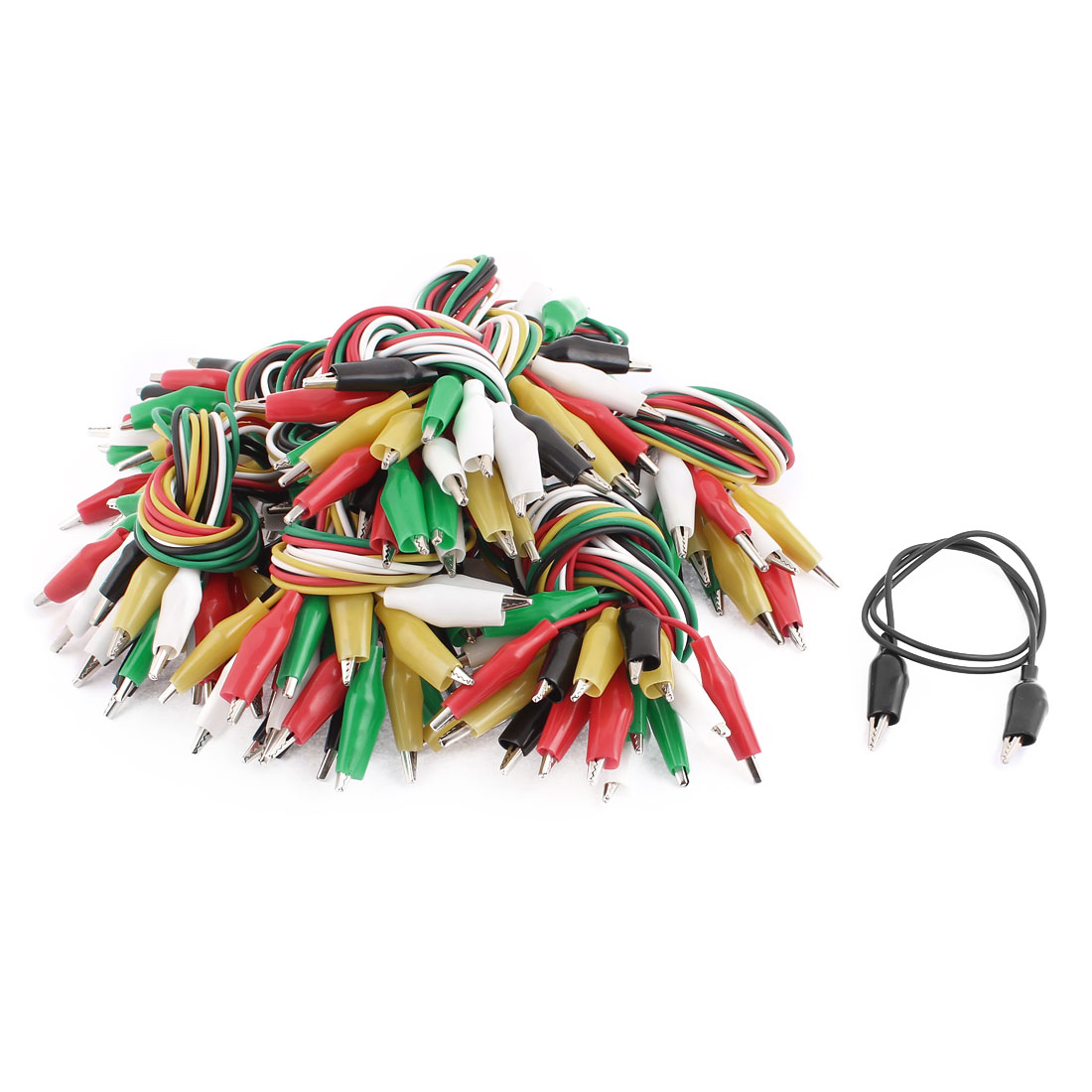 "100Pcs Colorful Double-ended Alligator Clips Test Jumper Wire 20"" Length"