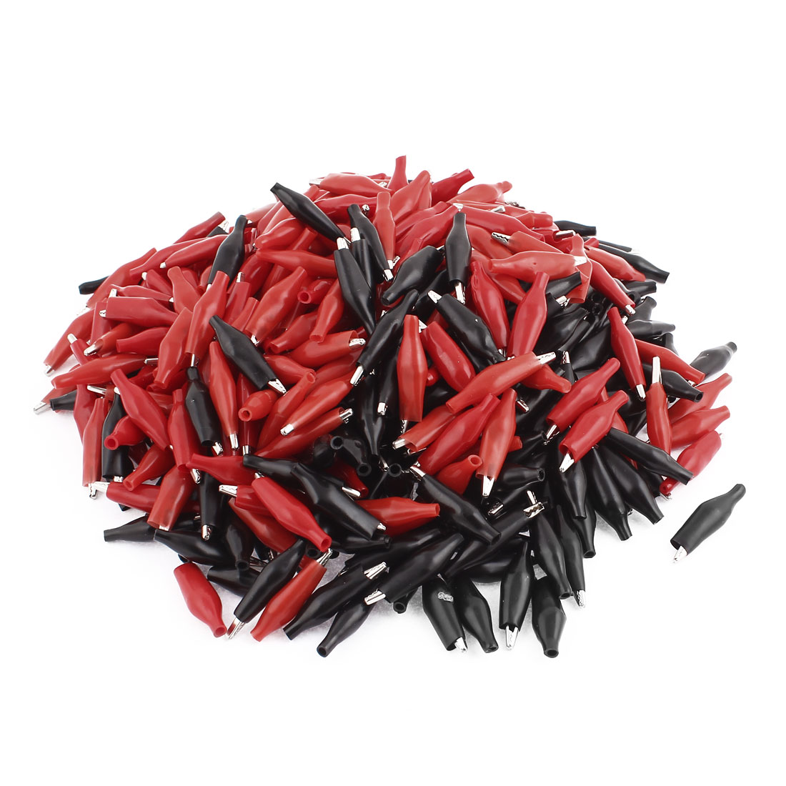 Red Black Plastic Testing Insulated Crocodile Test Clip Clamp 36mm Long 500pcs