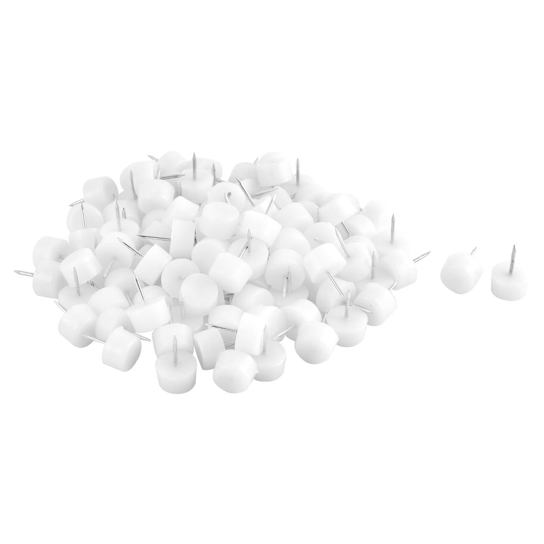 Home Plastic Floor Protector Chair Table Furniture Legs Glide Nail White 10 x 16mm 100pcs