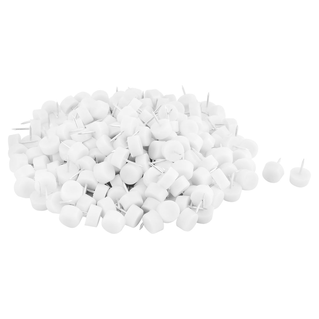 Home Plastic Floor Protector Chair Table Furniture Legs Glide Nail White 10 x 18mm 200pcs