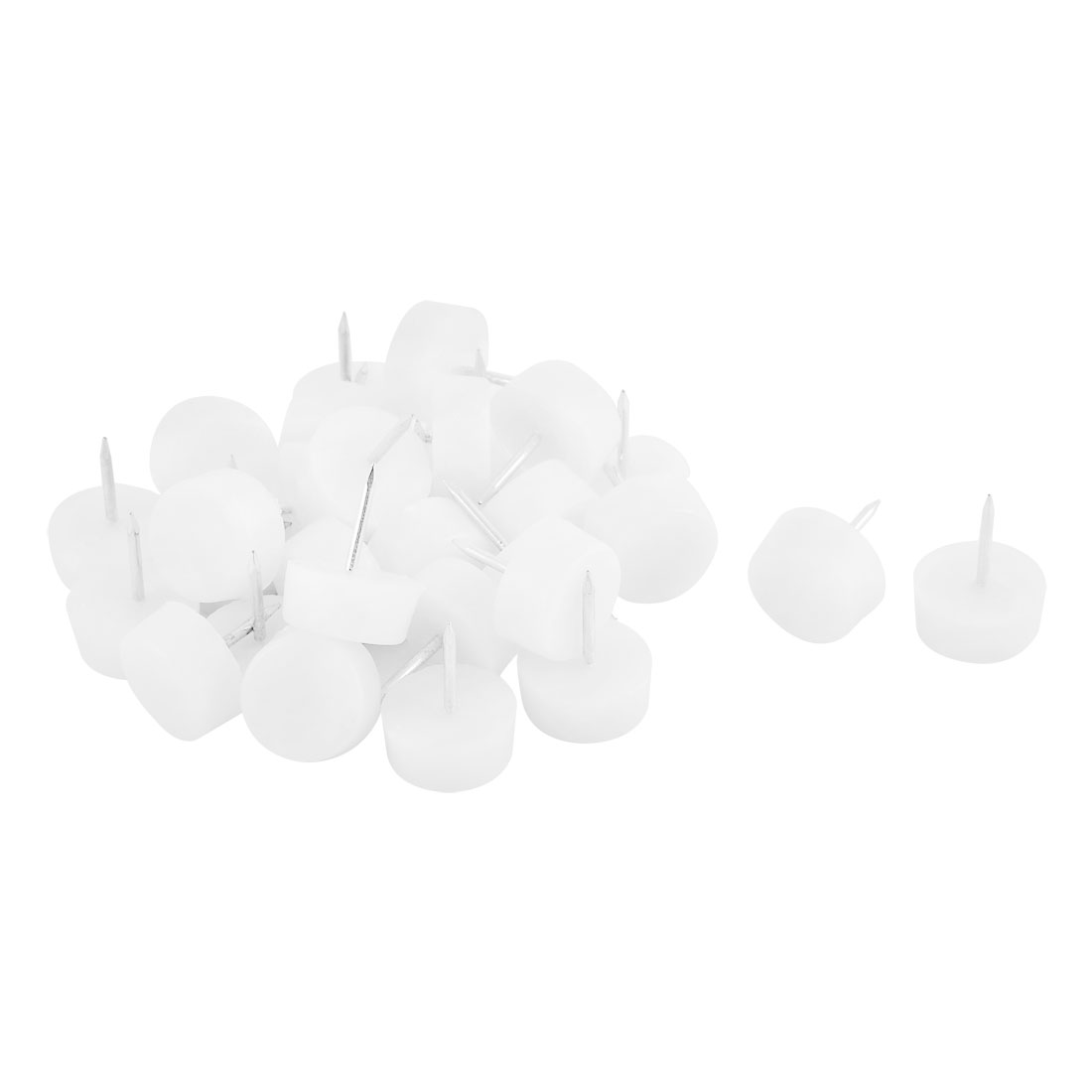 Household Plastic Anti Scratch Chair Table Furniture Legs Glide Nail White 10 x 21mm 30pcs