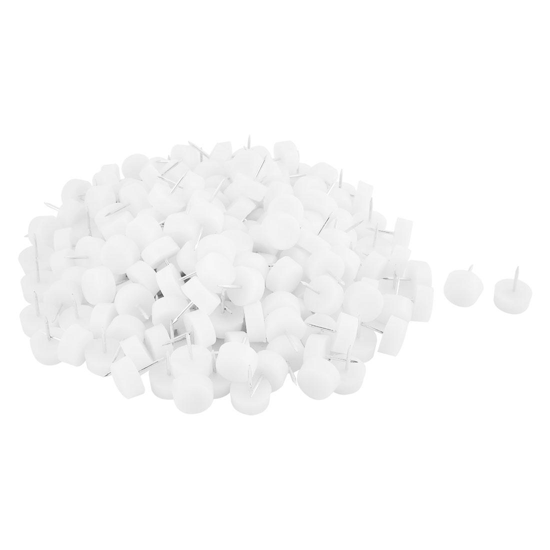 Household Plastic Anti Scratch Chair Table Furniture Legs Glide Nail White 10 x 21mm 200pcs
