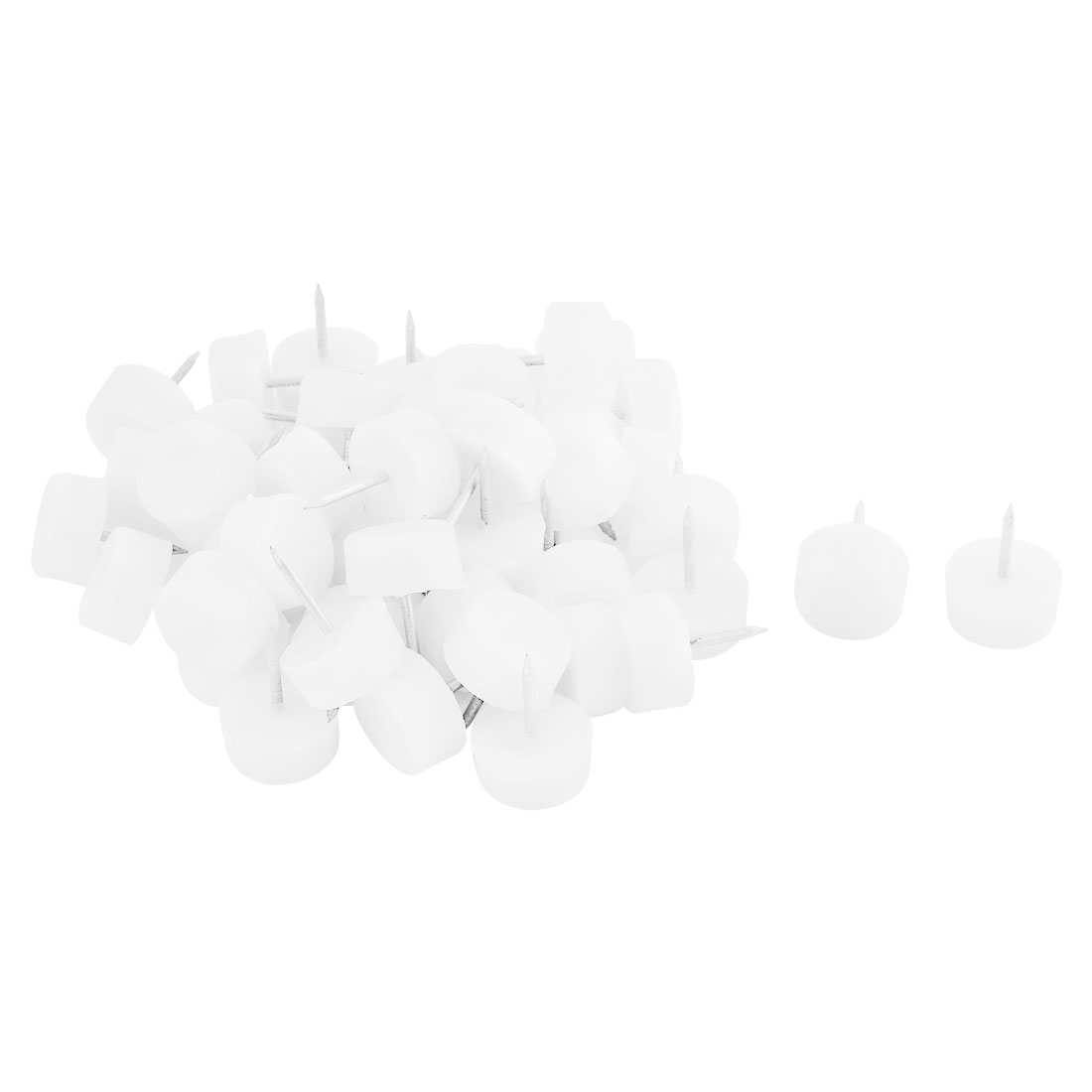Household Plastic Floor Protector Chair Table Furniture Legs Glide Nail White 10 x 20mm 50pcs