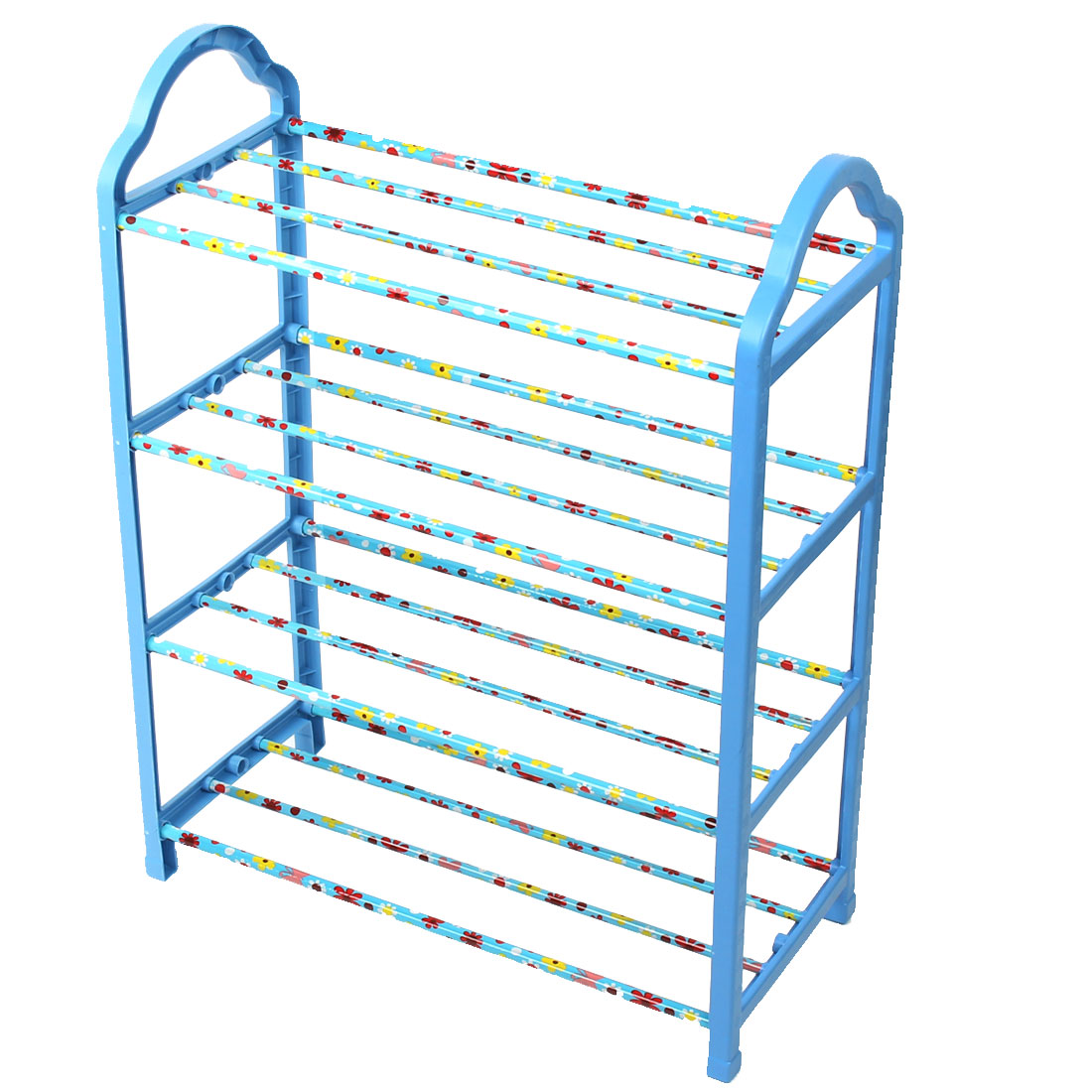 Household Plastic 4 Layers Detachable Storage Organizer Holder Shelf Shoes Rack Blue
