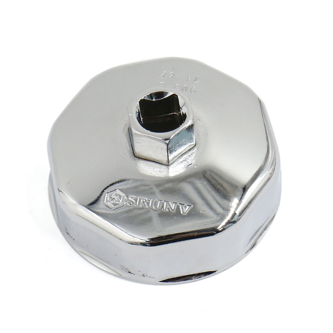 13mm Square Drive 8 Flutes Silver Tone Oil Filter Wrench Cup Style for Auto Car