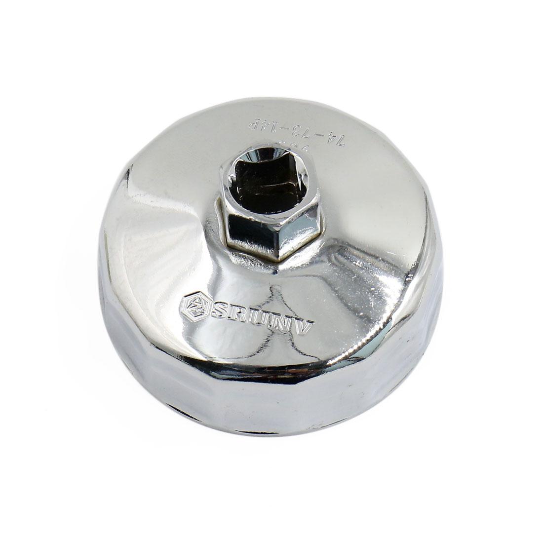 74mm Inner Diameter Car Stainless Steel Alloy 14 Flutes Oil Filter Wrench Cap Socket Tool