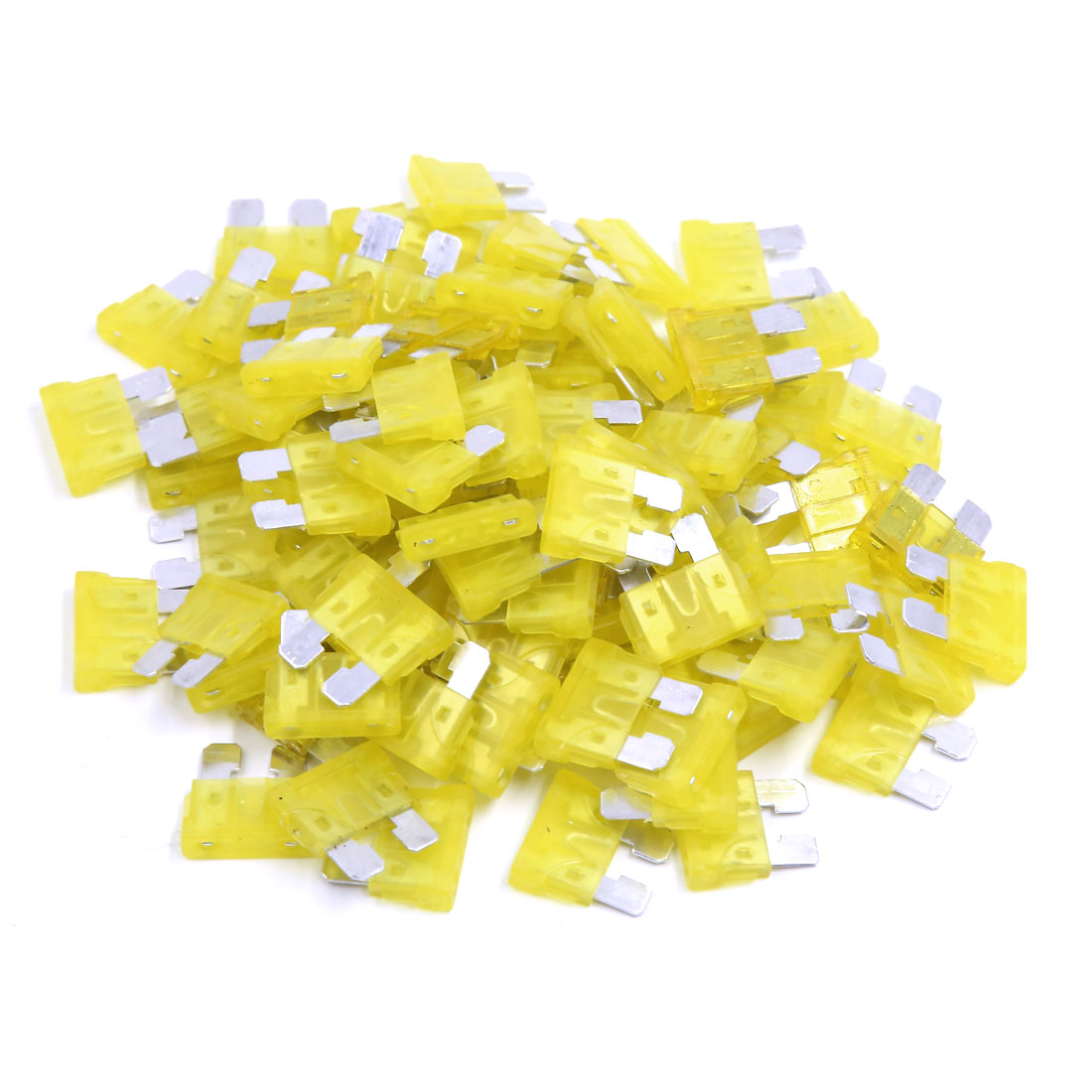 20A Motorcycle Vehicle Metal Yellow Blade Fuse 100 Pcs
