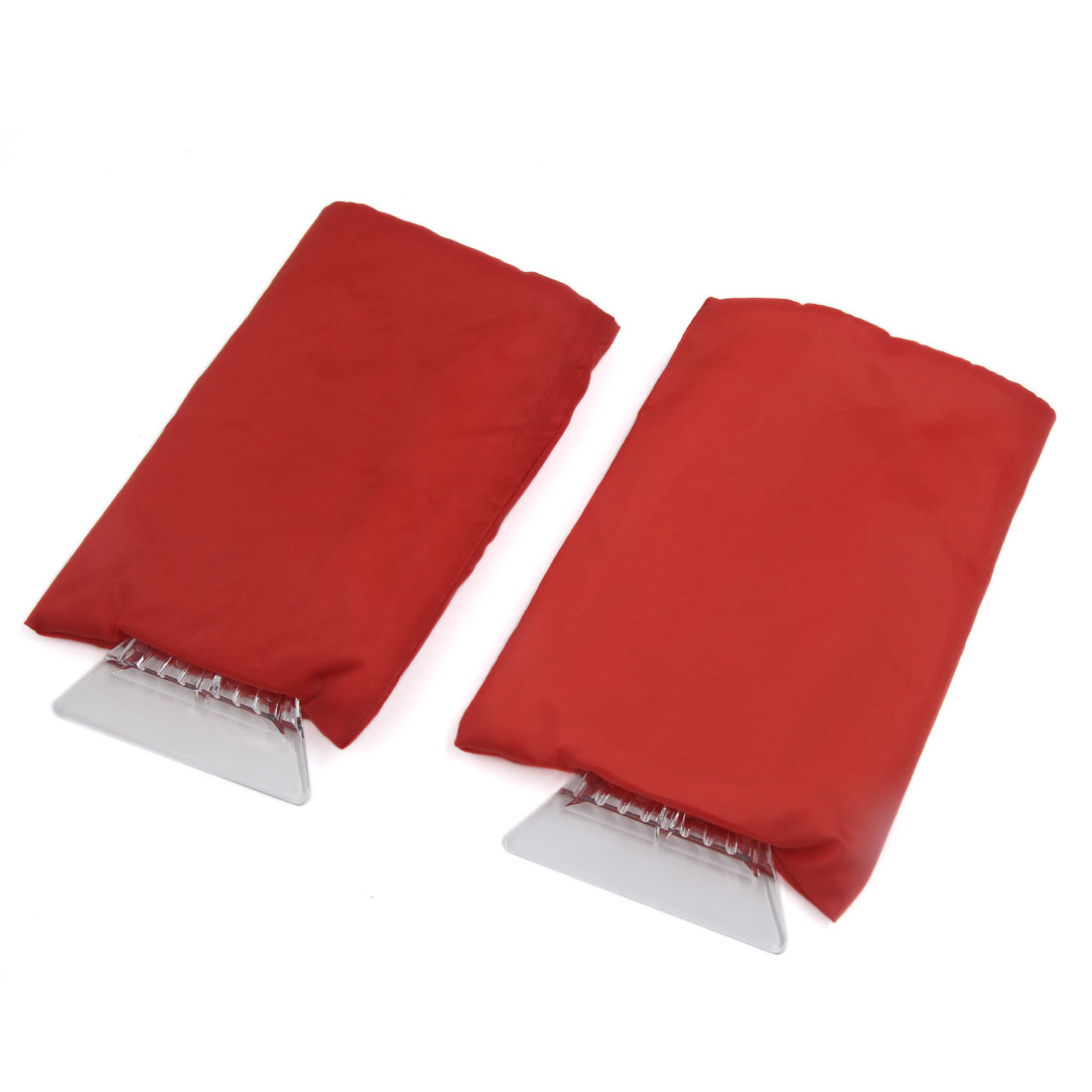 2 Pcs Red Handle Snow Shovel Ice Scraper w Fleece Lining Glove for Auto Car