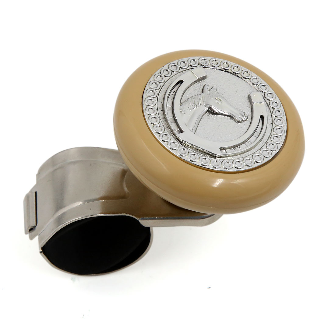 Horse Pattern Car Steering Wheel Spinner Handle Knob Beige Silver Tone
