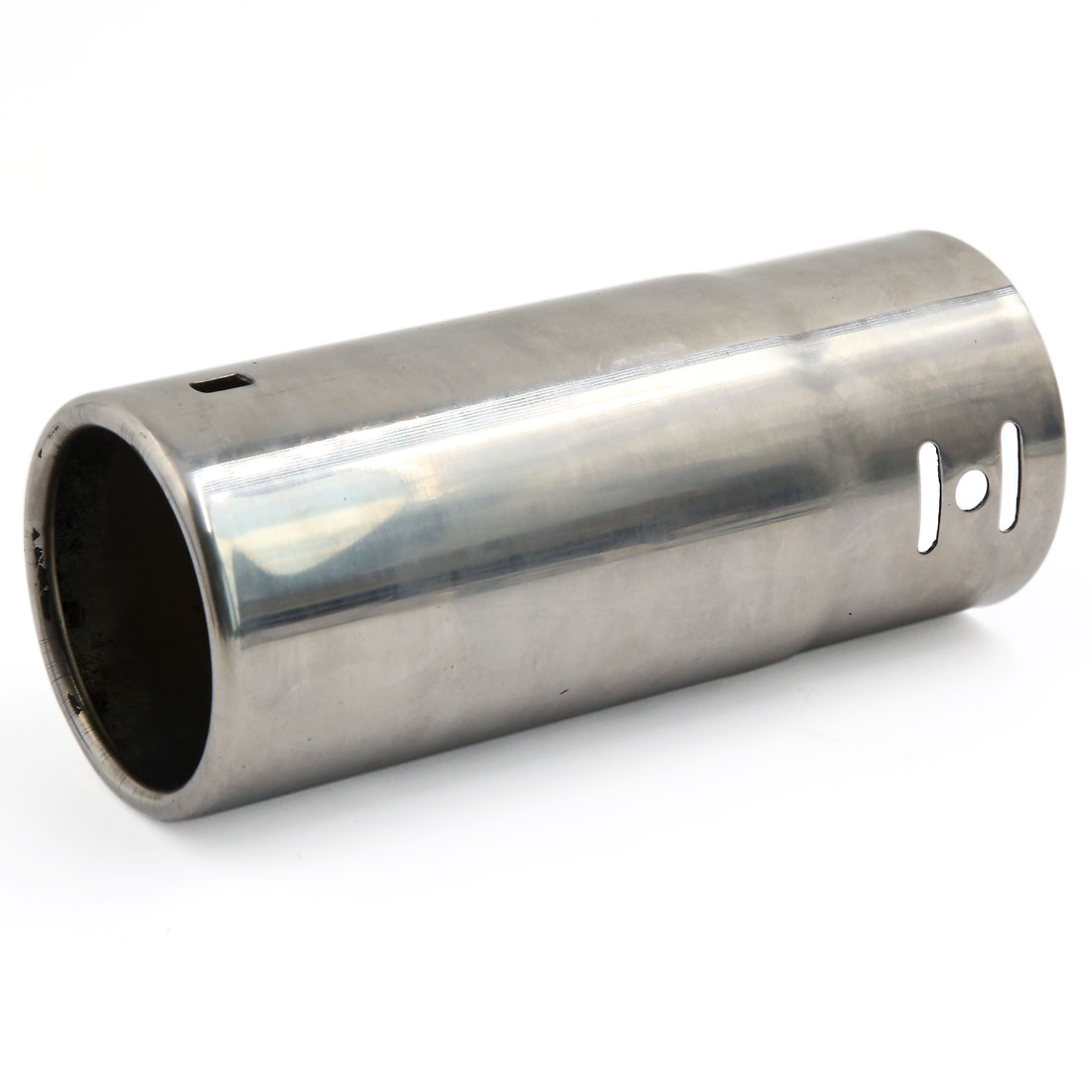 "Silver Tone 2.4"" Inlet Dia 15cm Long Outlet Exhaust Muffler Tail Pipe Tip"