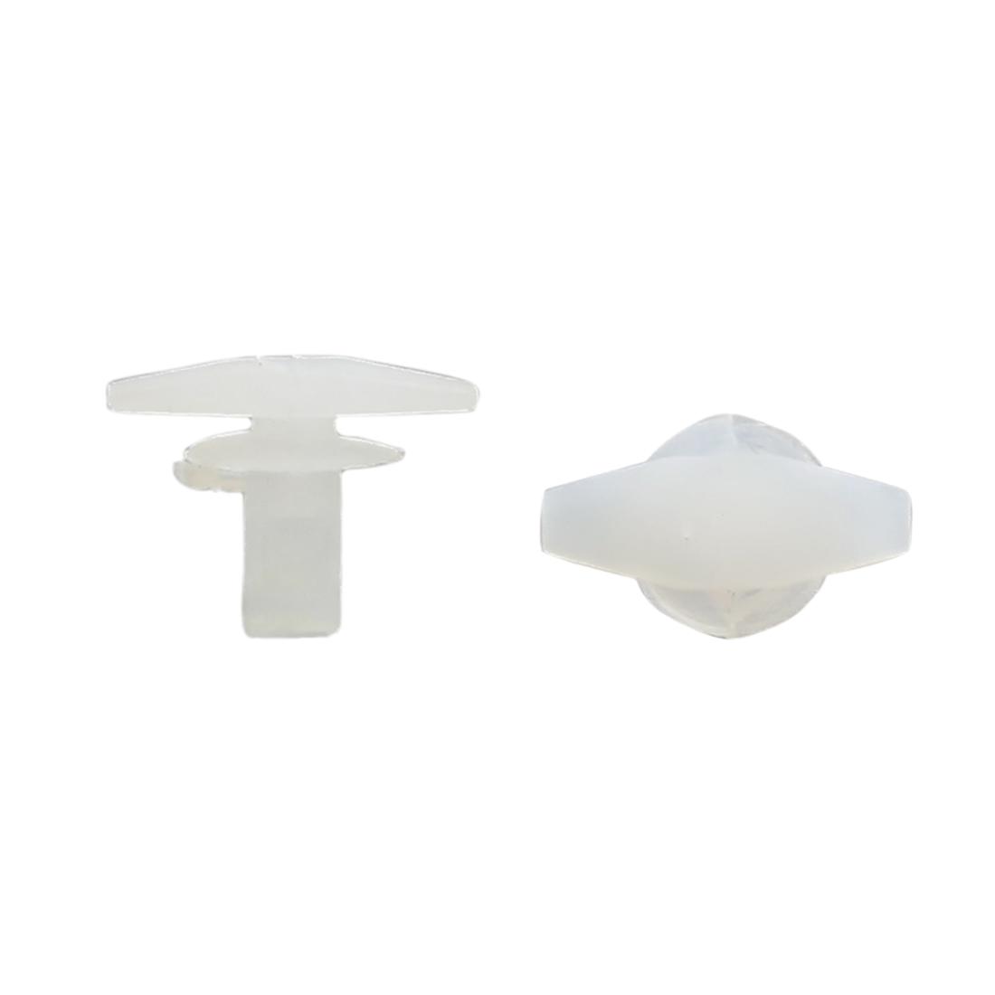100 Pcs 5mm Hole Plastic Rivet Fastener Mud Flaps Bumper Fender Push Clips White
