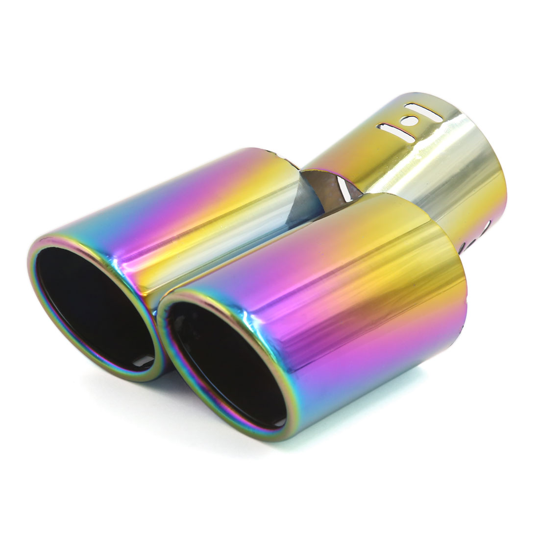 "Car Colorful Double Oval Outlet Exhaust Muffler Trim Tip Y Shape Pipe 2.4"" Inlet"
