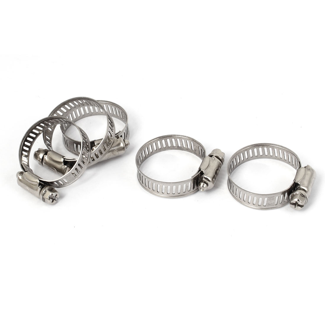 Adjustable 18mm-32mm Range Band Worm Hose Clip Clamp 5 Pcs