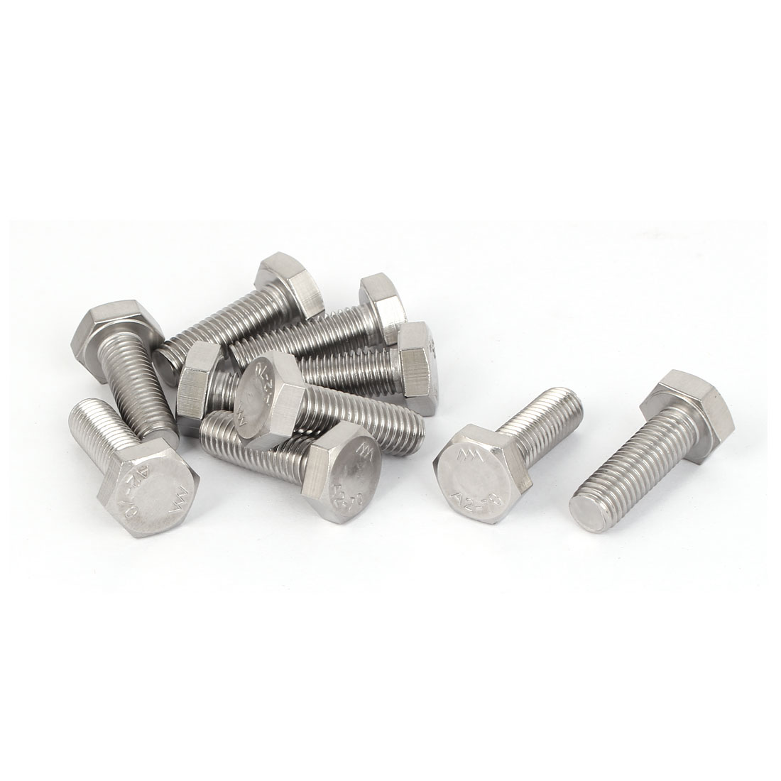 M10x30mm Hex Head Cap Hexagonal Bolt Fastener Screw Silver Tone 10psc