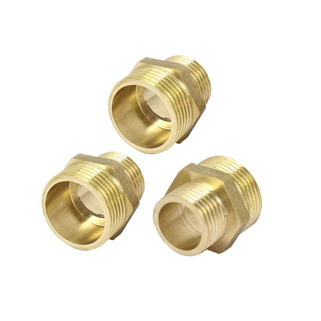 Pipe Fitting Male Metal Hex Reducing Nipple Brass Tone 3pcs