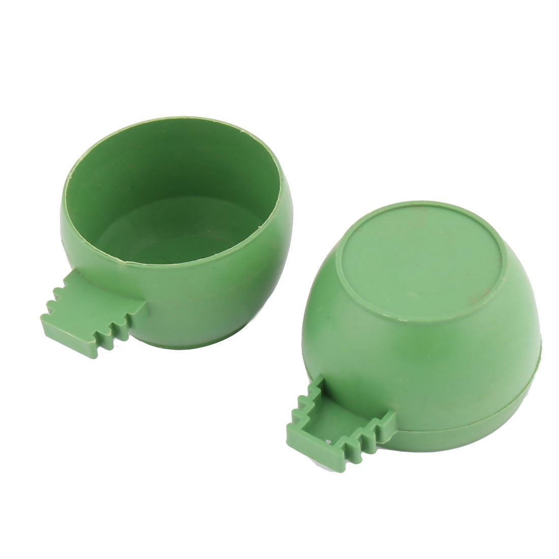 Pigeon Sparrow Plastic Round Shape Water Feeder Bird Drinking Cup Green 2 Pcs