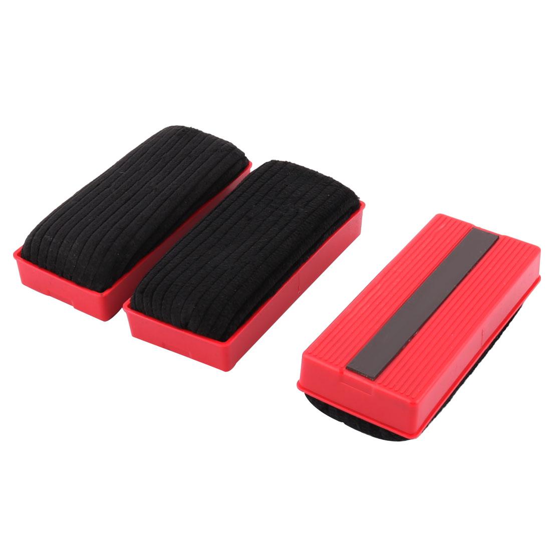 School Teaching Magnetic Velvet Wipe Cleaner Blackboard Eraser Black Red 3pcs