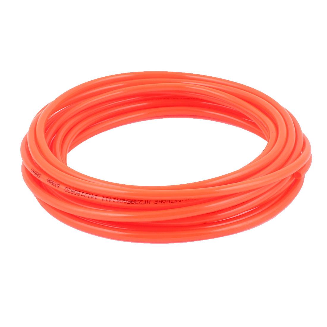 6mm x 4mm Fleaxible PU Tube Pneumatic Polyurethane Hose 6.7M Long Orange