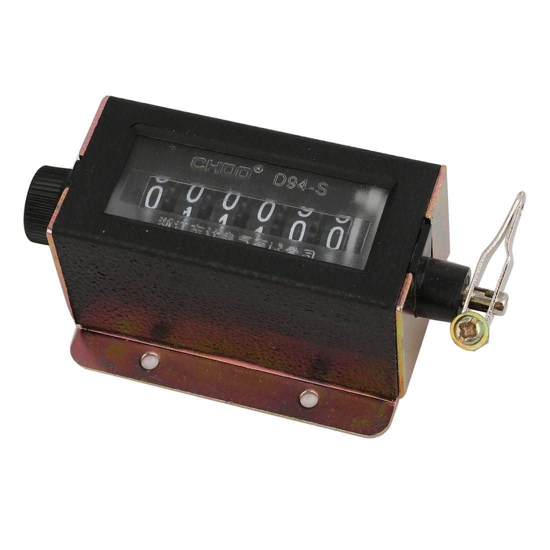 Black Shell D94-S 6 Digits Resettable Spring Mechanical Pull Counter for Puncher