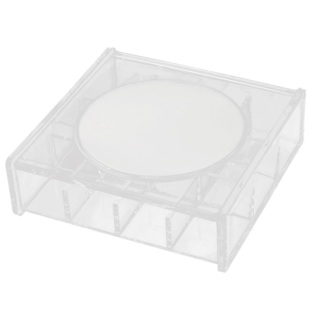 Acrylic Rectangle 12 Slots Earrings Jewelry Box Organizer Clear w Makeup Mirror