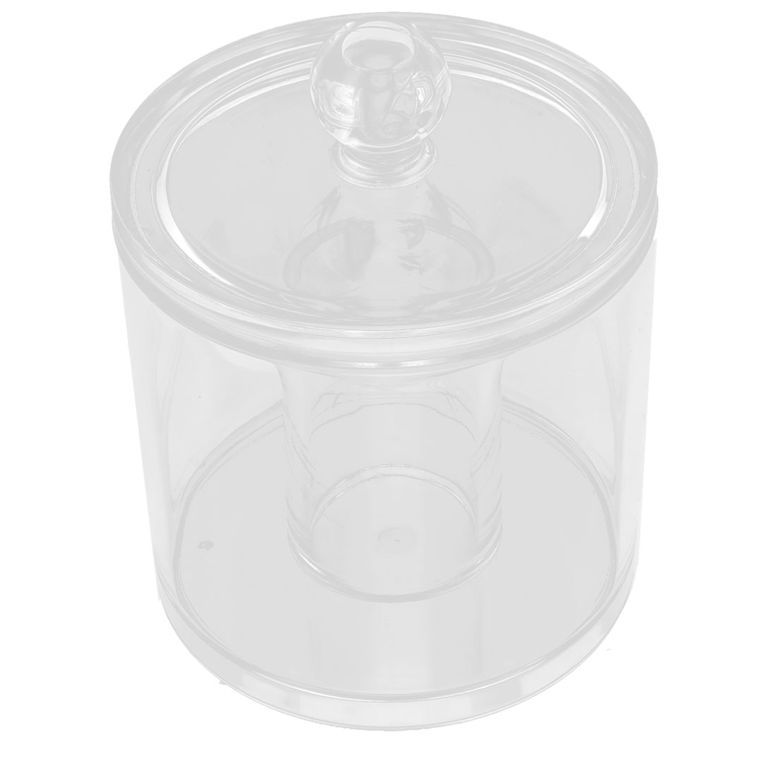 Acrylic Round Shape Cotton Swab Makeup Pencil Holder Jewelry Box Organizer Clear
