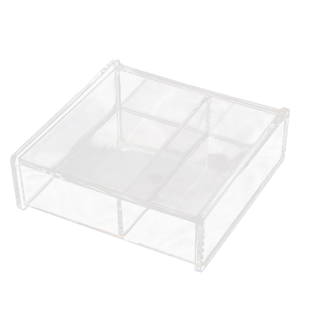 Acrylic Square Shape 2 Slots Cosmetics Jewelry Box Organizer Clear w Cover