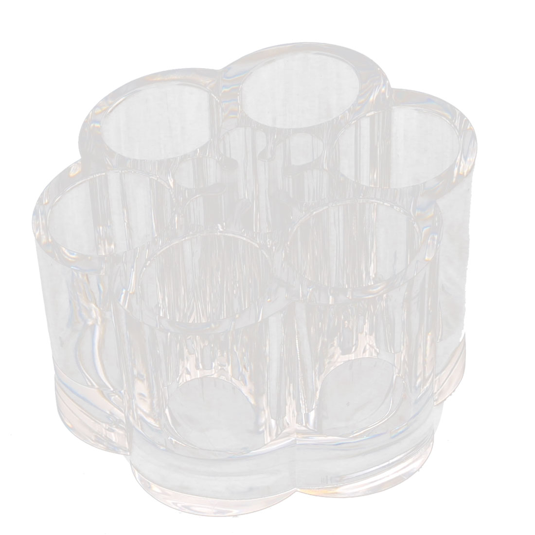 Acrylic Flower Shape Lipstick Cosmetic Brush Holder Jewelry Box Organizer Clear