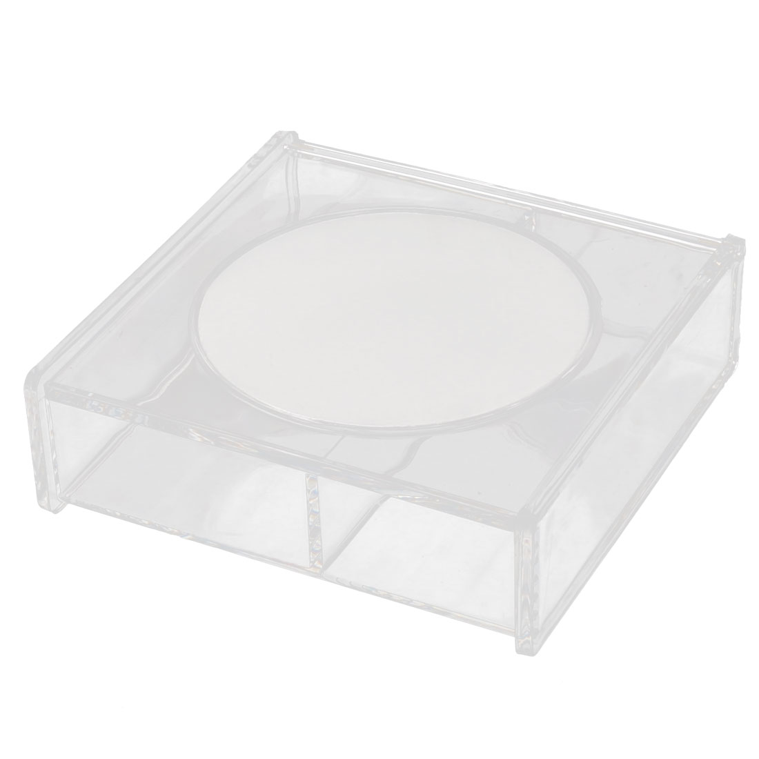 Acrylic Rectangle 2 Slots Cosmetics Jewelry Box Organizer Clear w Makeup Mirror