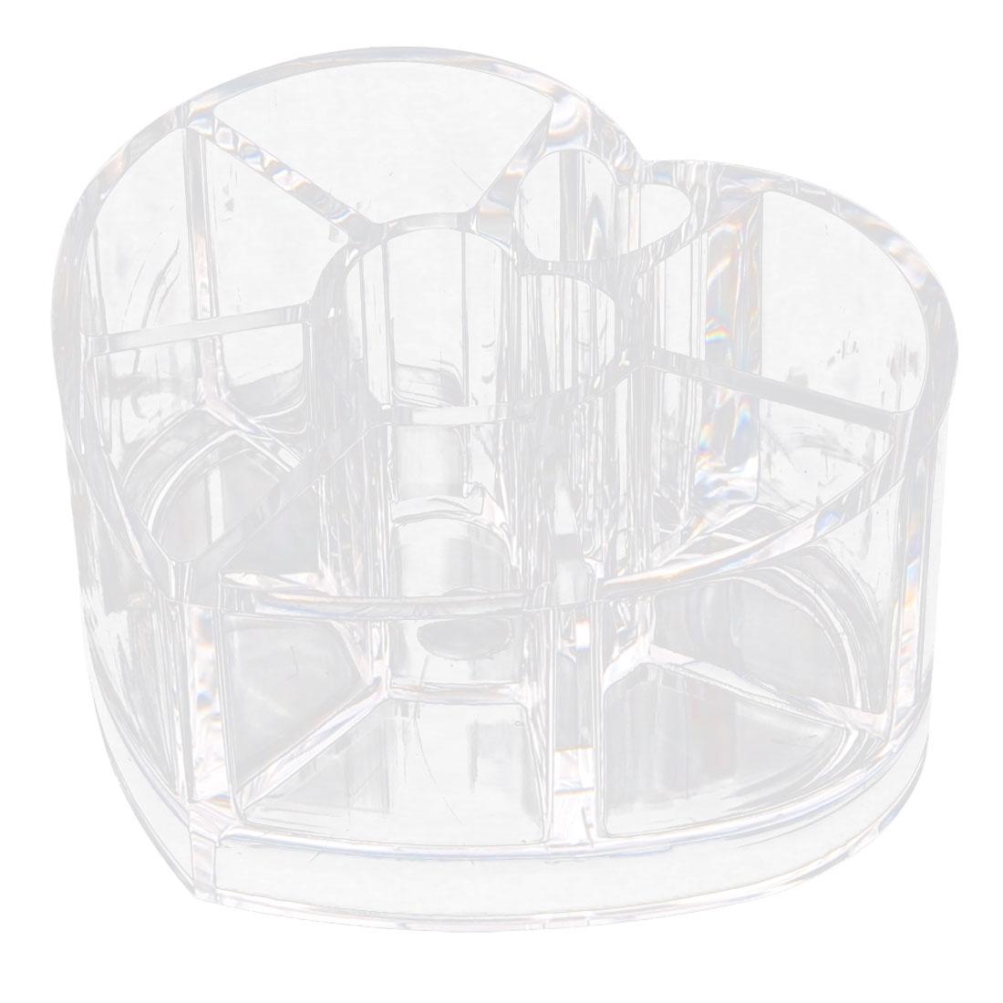 Acrylic 8 Slots Heart Shape Lipstick Holder Jewelry Box Organizer Clear