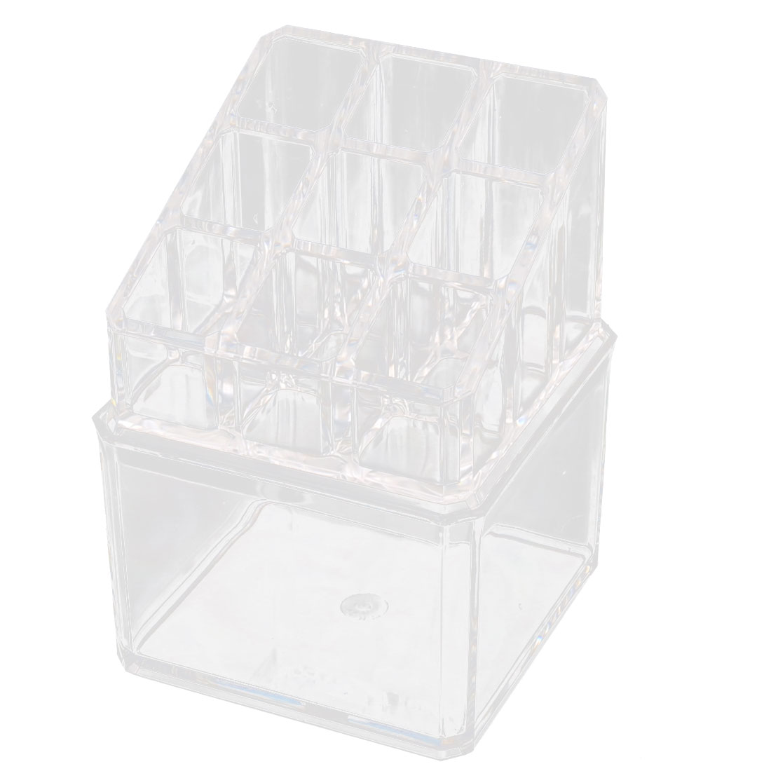 Acrylic 10 Slots Cotton Pads Cosmetic Tool Display Case Jewelry Box Organizer Clear