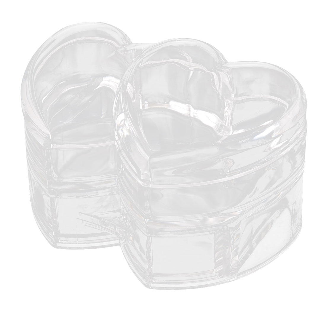Acrylic Heart Shape Cotton Pads Makeup Drawer Case Jewelry Box Organizer Clear