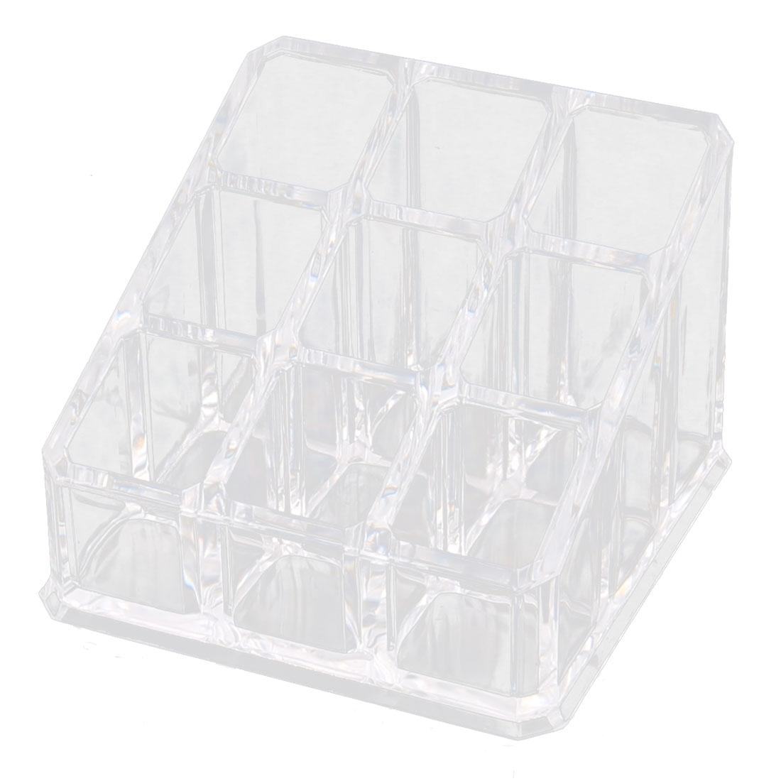 Acrylic 9 Slots Lipstick Cosmetic Brush Holder Jewelry Box Organizer Clear