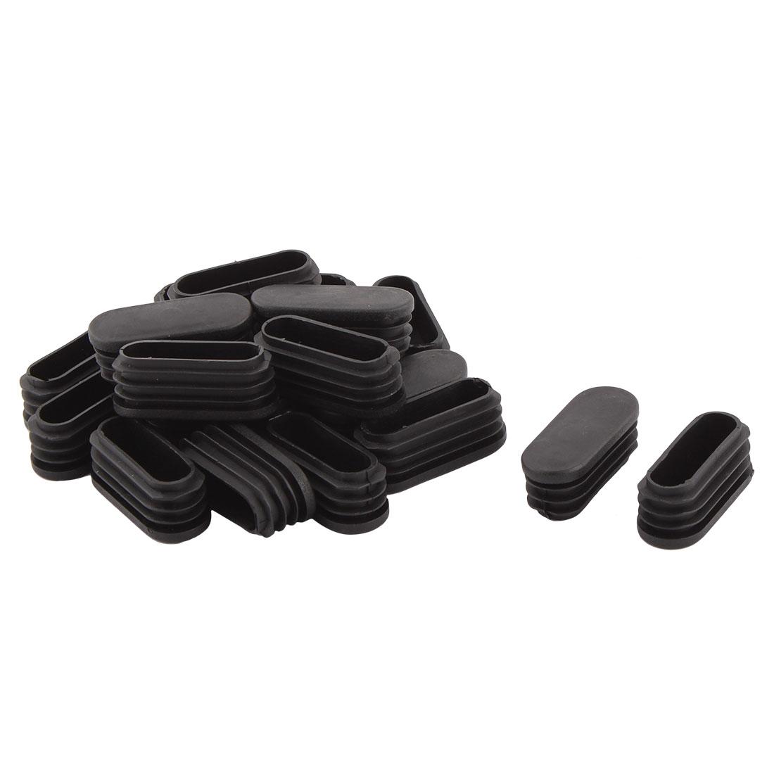 Table Feet Plastic Oval Design Tube Pipe Insert End Cap Black 50mm x 20mm 20 Pcs