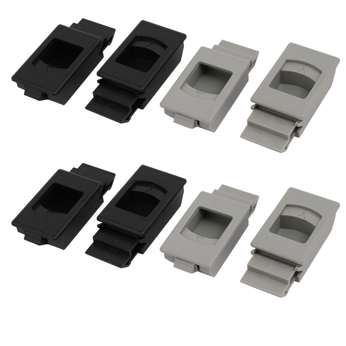 Door Shelf Inside Pull Rectangular Plastic Slide Latch Fittings Gray Black 8pcs