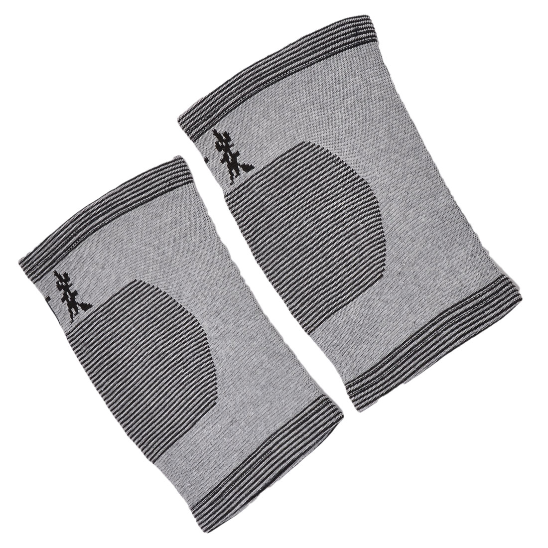 Outdoor Fitness Spandex Strips Pattern Stretch Knee Support Pad Gray Black Pair
