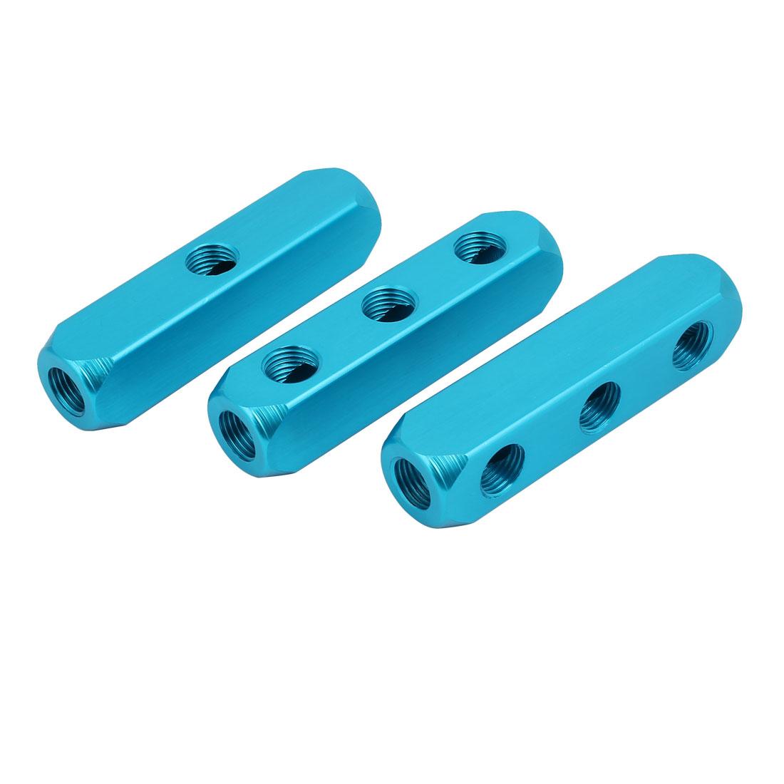 1/4PT Thread 3 Way Quick Connect Air Hose Manifold Block Splitter Blue 3pcs