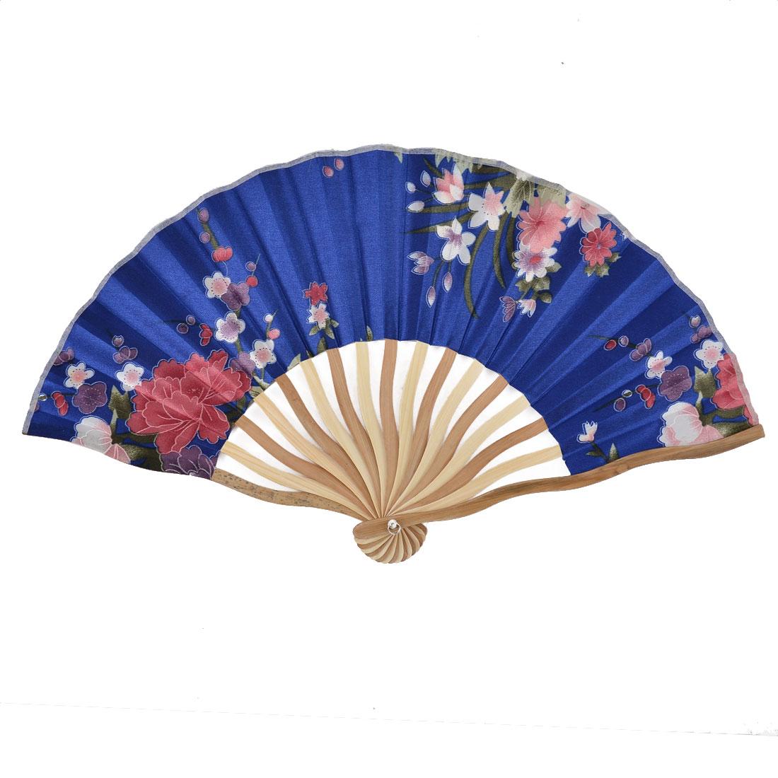 Bamboo Ribs Flower Pattern Summer Cool Portable Folding Hand Fan Blue w Pouch