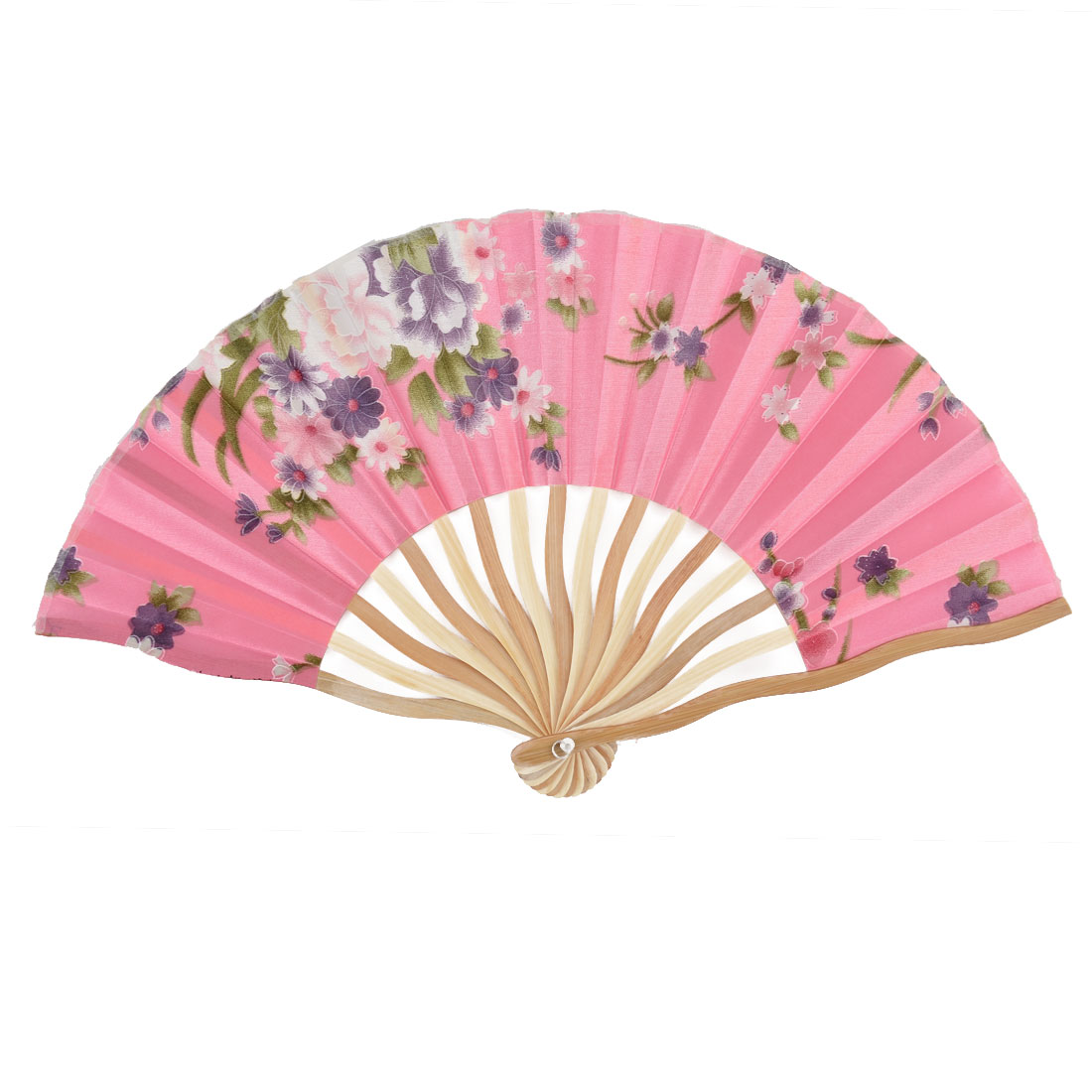 Summer Cool Bamboo Blossomy Pattern Portable Folding Hand Fan Pink w Bag