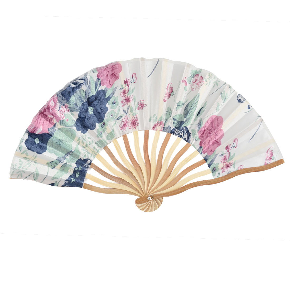 Bamboo Ribs Flower Pattern Summer Cool Portable Foldable Hand Fan White w Case