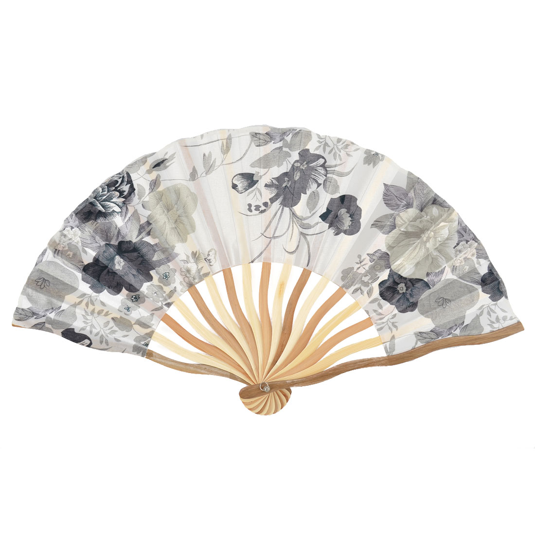 Bamboo Ribs Floral Pattern Summer Cool Portable Folding Hand Fan White w Bag