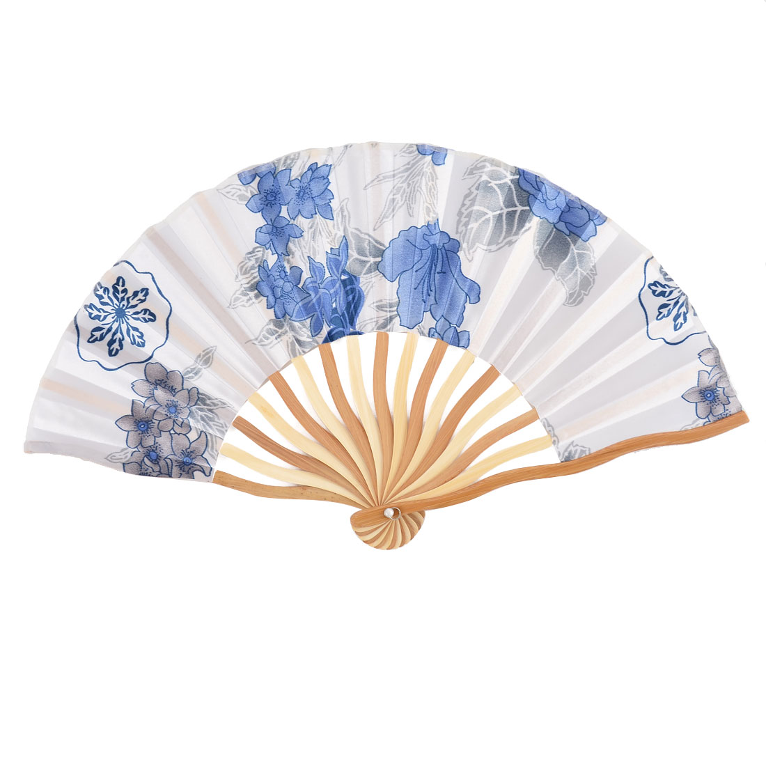 Bamboo Ribs Summer Cool Floral Pattern Folding Hand Fan Colorful w Bag