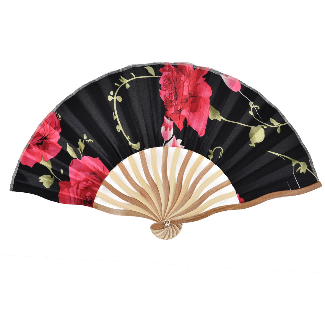 Bamboo Ribs Summer Cool Flower Pattern Portable Foldable Hand Fan Black w Bag