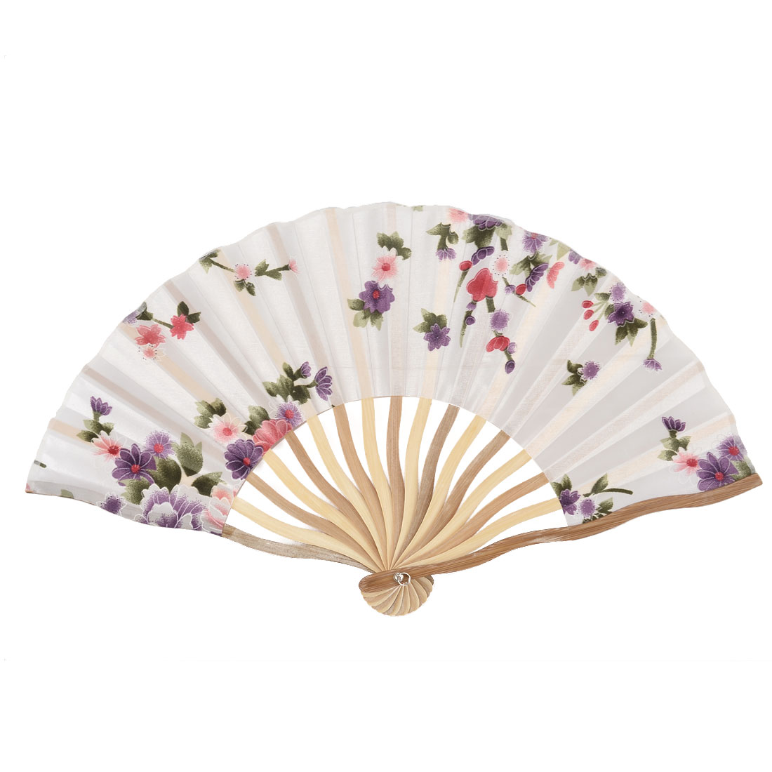 Bamboo Ribs Blossomy Pattern Summer Cool Foldable Hand Fan White w Bag