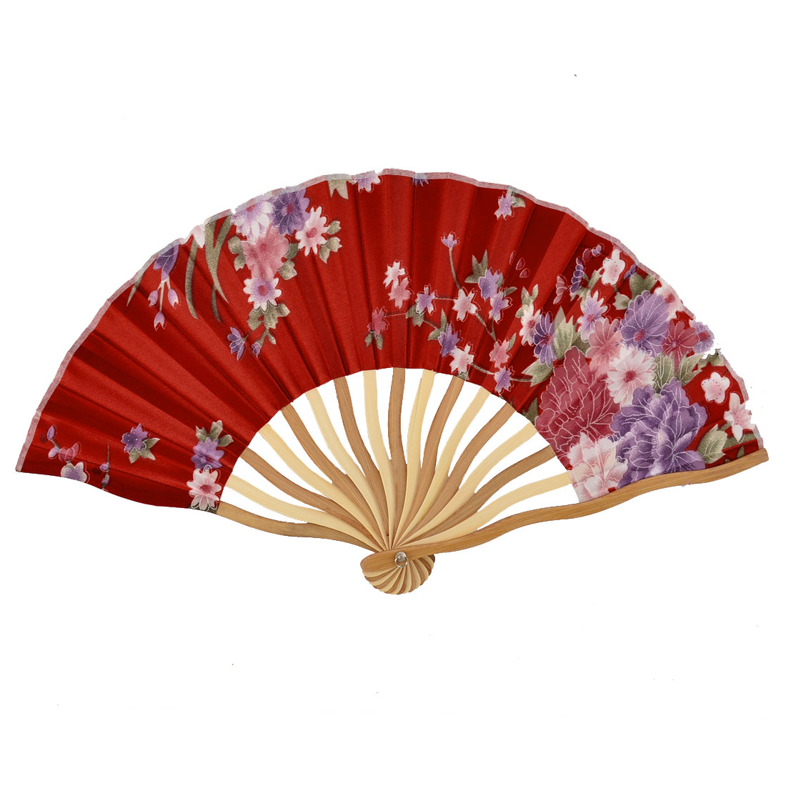 Bamboo Ribs Flower Pattern Summer Cool Foldable Dancing Hand Fan Red w Pouch