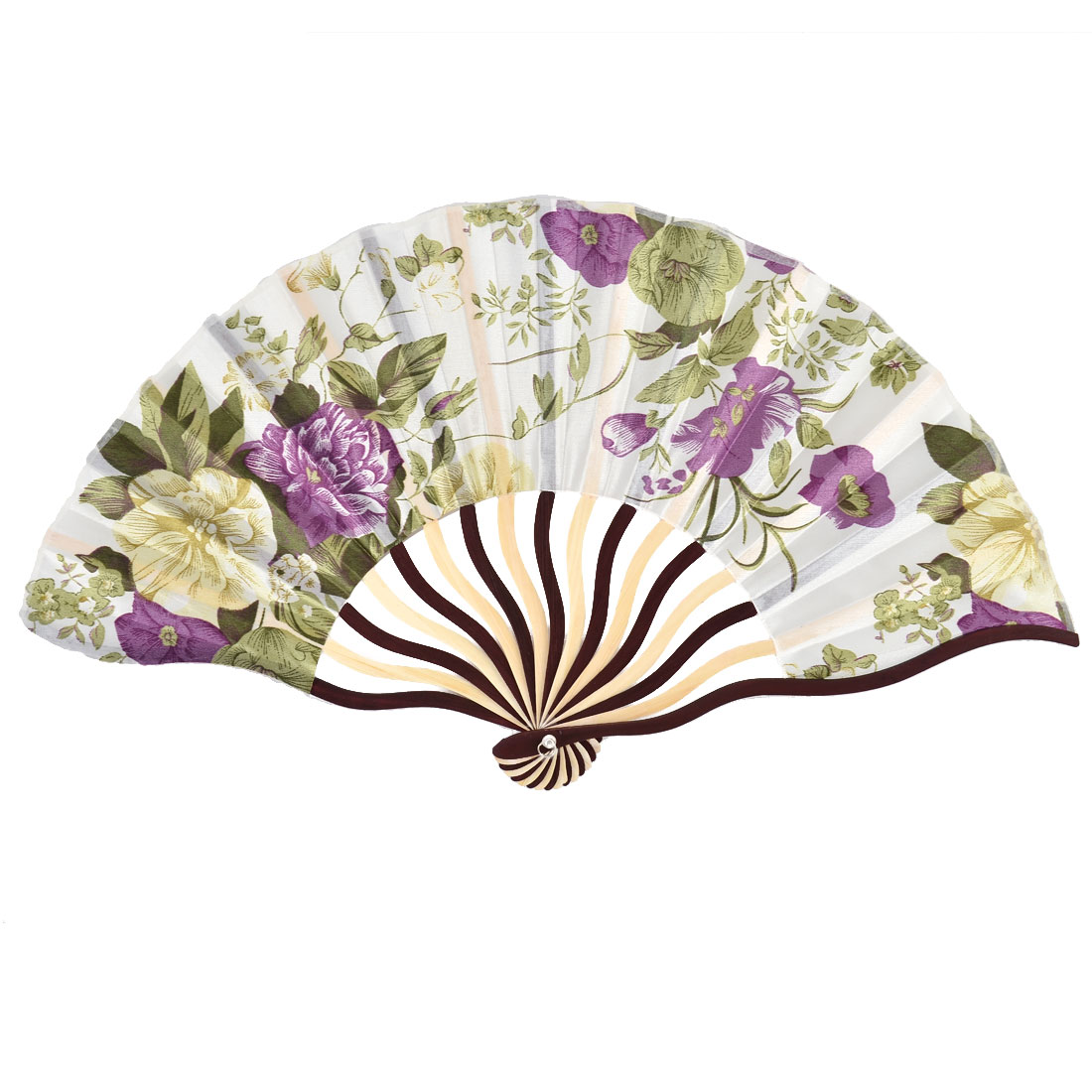 Bamboo Ribs Flower Leaves Pattern Portable Folding Hand Fan Colorful w Bag