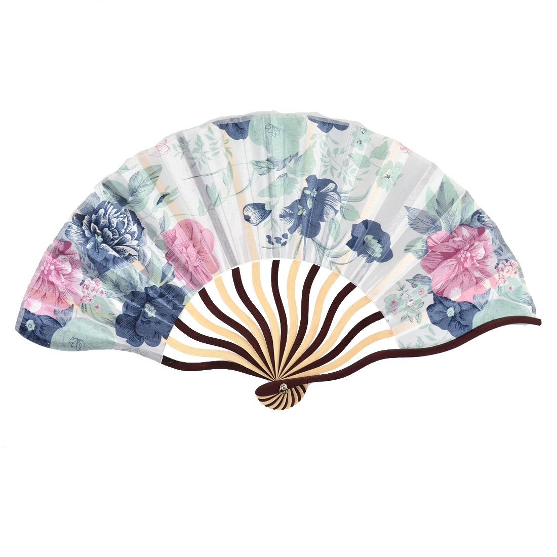 Bamboo Ribs Floral Leaf Pattern Classic Folding Hand Fan Colorful w Pouch