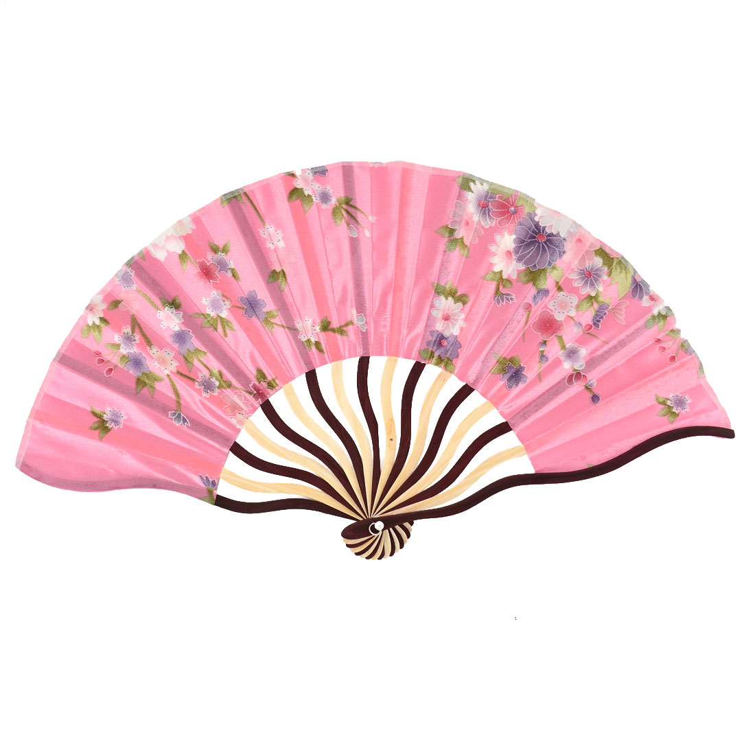 Bamboo Ribs Flower Pattern Portable Folding Dancing Hand Fan Pink w Pouch