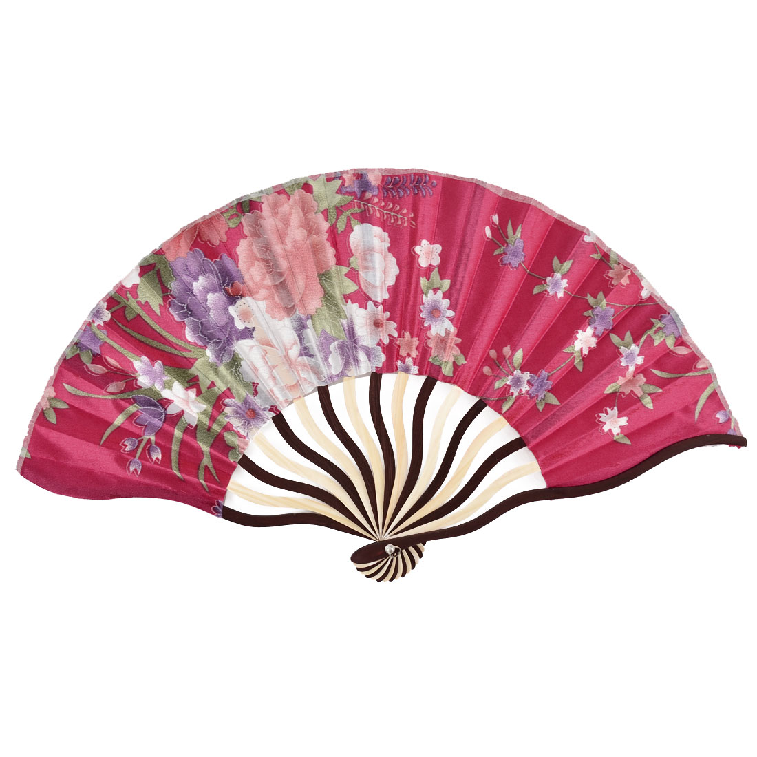 Bamboo Ribs Flower Pattern Summer Cool Portable Folding Hand Fan Fuchsia w Bag